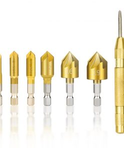 XCAN Hex Shank Countersink Drill Bit 6-19mm Set Titanium Coated 5 Flute Hole Drill 90 Degrees Wood Chamfering Cutter