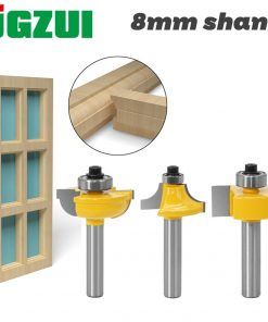 3pcs 8mm Shank Router Bits Set Beading Bit Round Over Bead Frame Door T V Shape Milling Cutter For Wood Power Tools