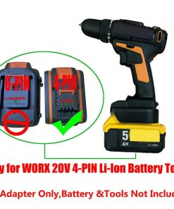 For WORX 20V WG169E WG549E WG546E WG259E WG894E 4-PIN Li-Ion Wireless Tools Battery Adapter Use For DEWALT 20V Lithium Battery