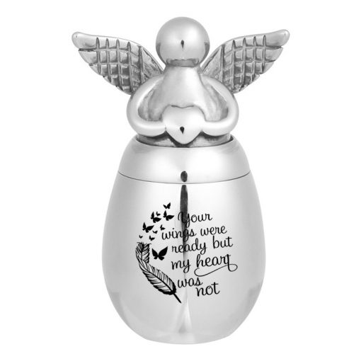 Small Keepsake Urns for Human Ashes Mini Cremation Urns for Ashes Stainless Steel Angel Memorial Ash Jar -Your Wings were Ready, But My Heart was Not