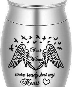 Small Keepsake Urns for Ashes Mini Cremation Urns for Ashes Stainless Steel Memorial Ashes Holder - Your Wings were Ready, But My Heart was Not