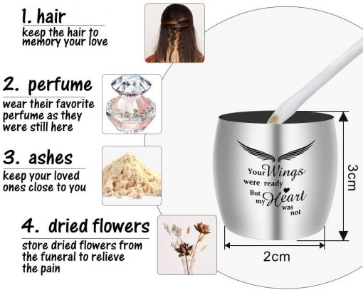 Small Keepsake Urns for Human Ashes Mini Cremation Urns for Ashes Stainless Steel Memorial Ashes Holder-Your Wings were Ready, But My Heart was Not