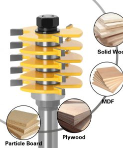 1pc Box Joint Router Bit Finger Joint- Adjustable 5 Blade 3 Teeth For Wood Cutter Tenon Cutter for Woodworking Tools