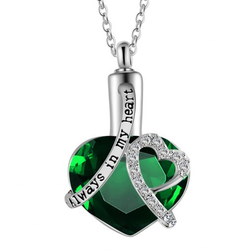 Always in My Heart Necklace Cremation memorial ashes urn with birthstone jewelry keepsake perfume pendant