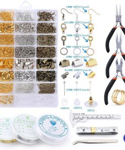 Jewelry Findings Set, Jewelry Making Kit, Lobster Clasps, Jump Rings, Ribbon Ends, Ribbon Clamp Crimps, Bead Caps, Pins, Hooks, Hoops
