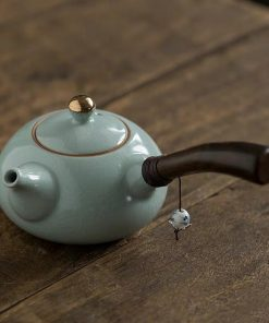 Japanese Style Handmade Ceramic Retro Side Handle Teapot Simple Chinese Kung Fu Office Kettle