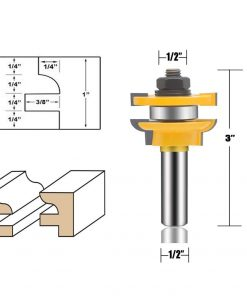 3 PCS Router Bit Set 1/2-Inch Shank Round Over Cove Raised Panel Cabinet Door Rail and Stile Router Bits Woodworking Tools