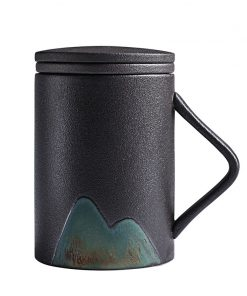 Handmade Brief Mountain Water Style Abstract Landscape Ceramic Coffee Cup Pasoral Filter Teacup