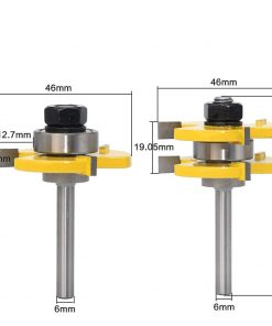 """2 pc 6mm Shank high quality Tongue & Groove Joint Assembly Router Bit Set 3/4"""" Stock Wood Cutting Tool"""