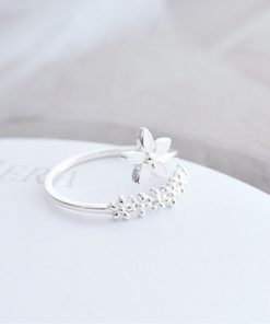 Fresh Flower 925 Sterling Silver Temperament Personality Literary Fashion Gift Korea Female Resizable Opening Rings SRI172